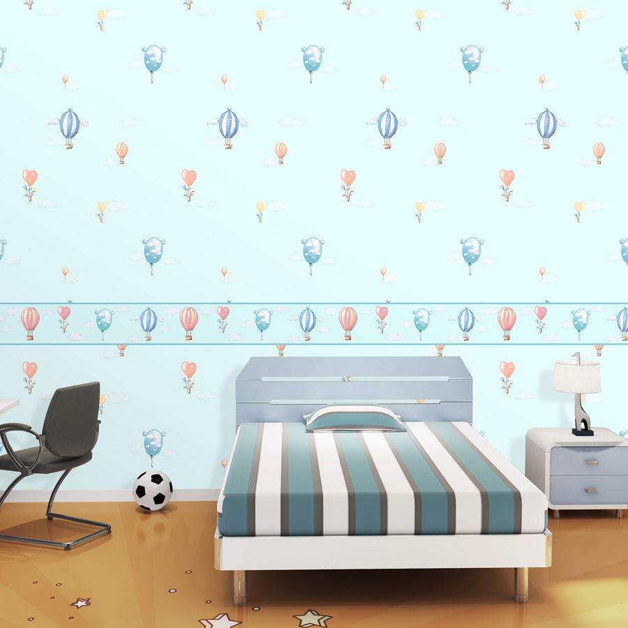 light Blue Angel Child Bedroom Wallpaper Child Cartoon Hot Air Balloon Wallpaper Red Heart Wing Balloon Wallpaper For Kids Room ao058m 2m hot selling inflatable advertising helium balloon ball pvc helium balioon inflatable sphere sky balloon for sale