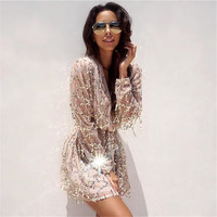 2016 Sexy Short Plus Size White Dress Kleider Sequin Dress Vestidos Femininos Vestido Manga Longa Women