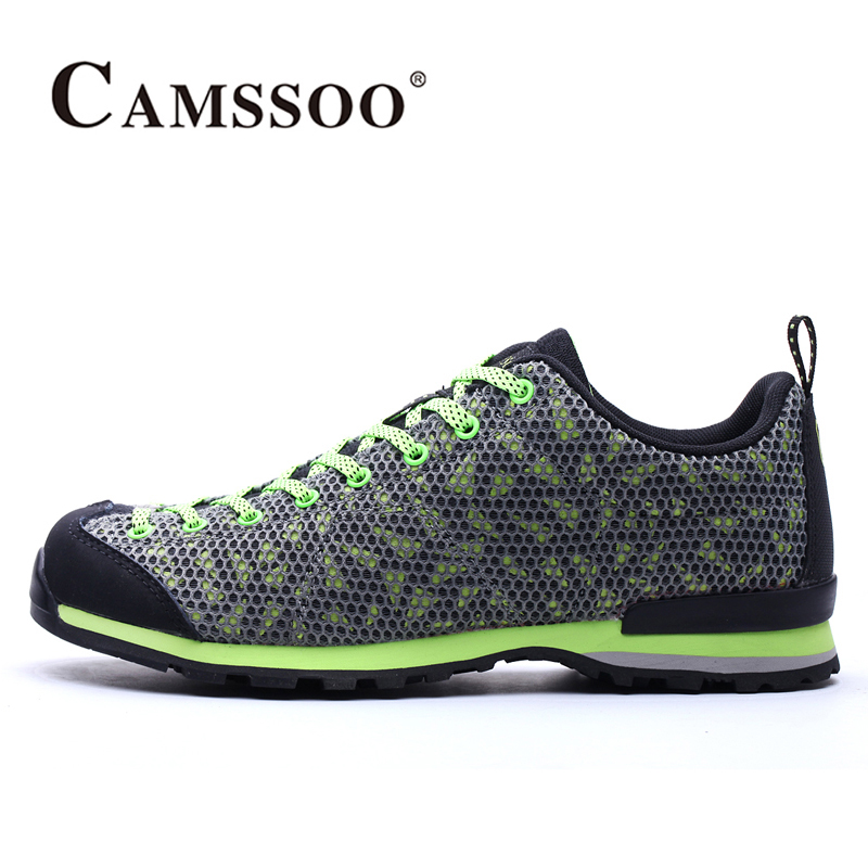2018 Camssoo Mens Walking Shoes Breathable Mesh Outdoor Sports Shoes Non-slip Travel Shoes Blue Grey For Men Free Shipping 6036