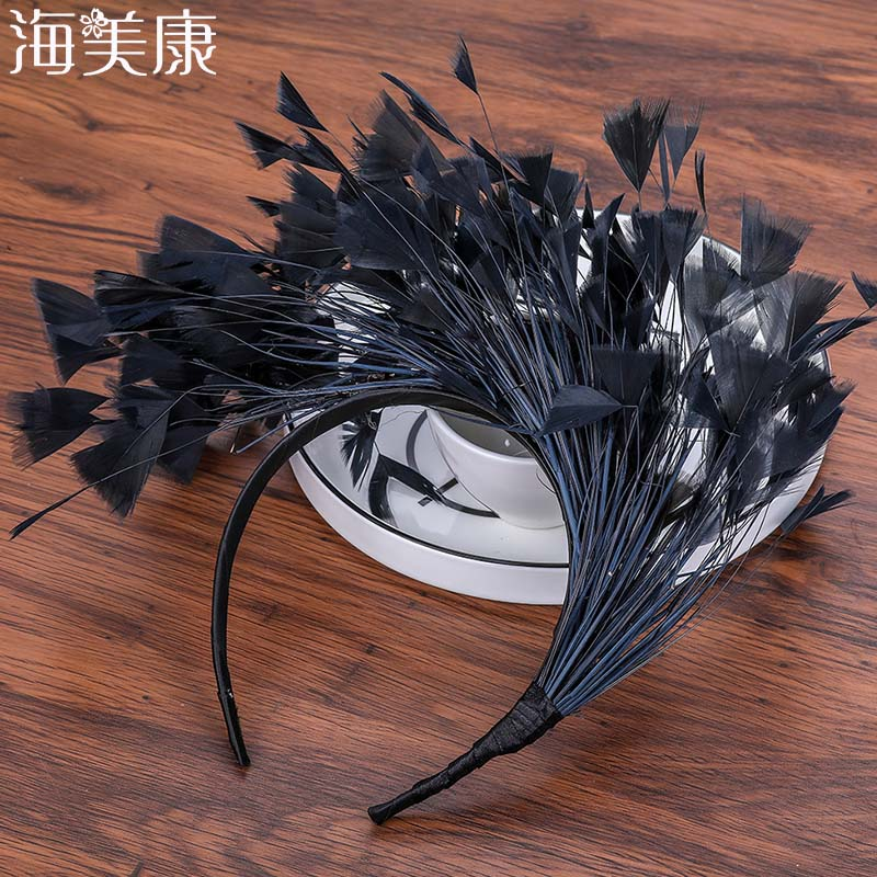 Haimeikang Feativel Hairband Female Feather Headband Hair Accessories Headdress Party Hair Head Decoration Crown