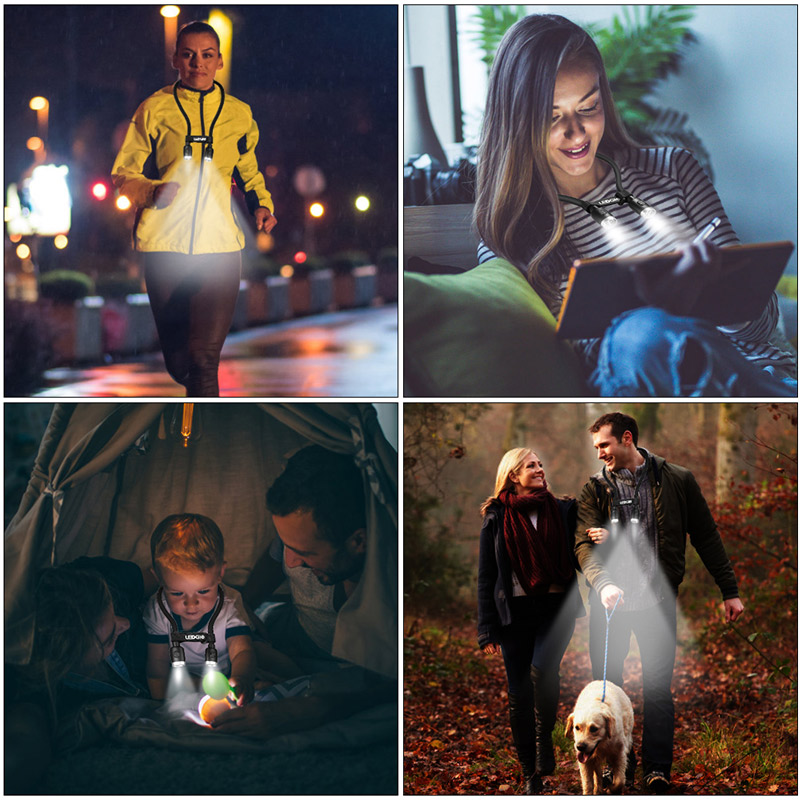 LEDGLE Reading Book Light Handsfree Rechargeable Lights Neck Led Lamp For Walking Outdoor Sport Running Lampe LED Night Lamps