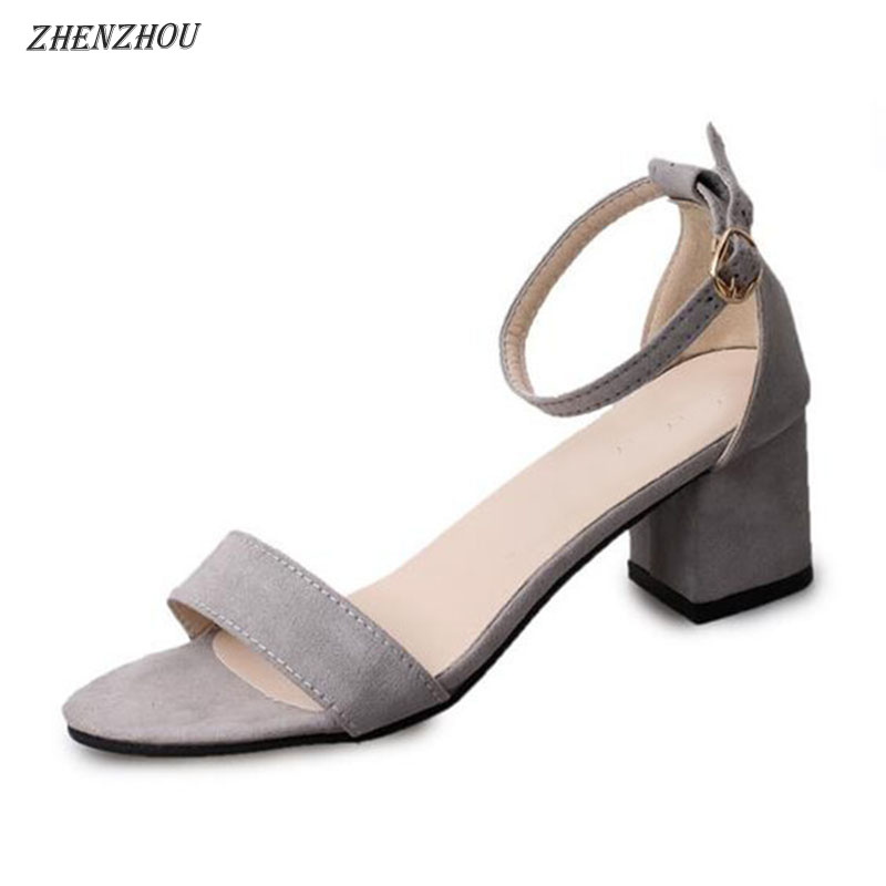 ZHENZHOU women Sandal 2018 summer high heels summer women's shoes new peep-toe with student Roman shoes thick with sexy