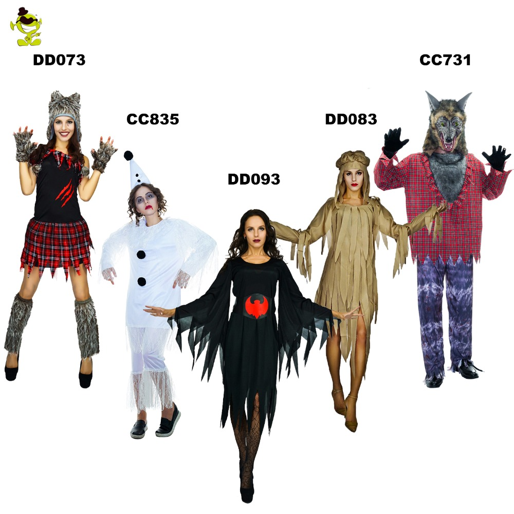 Adult Man And Women Costume Sexy Ghost Wolf Girl Costume For Women's Halloween Animal Costume Cosplay Party Black Devil Dress