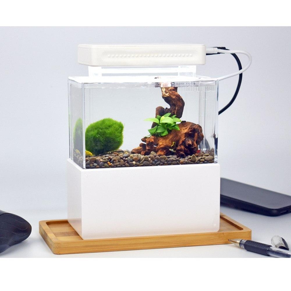 Mini réservoir de poisson en plastique Portable Aquarium de bureau bol de poisson avec Filtration de l'eau LED et silencieux pompe à Air Mini accessoires d'aquarium - 3
