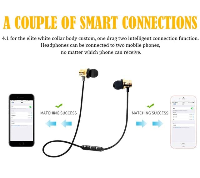 Wireless Headphone Bluetooth Earphone Metal Sports SweatProof Earpiece Magnetic Headset Stereo For xiaomi iPhone Auriculare