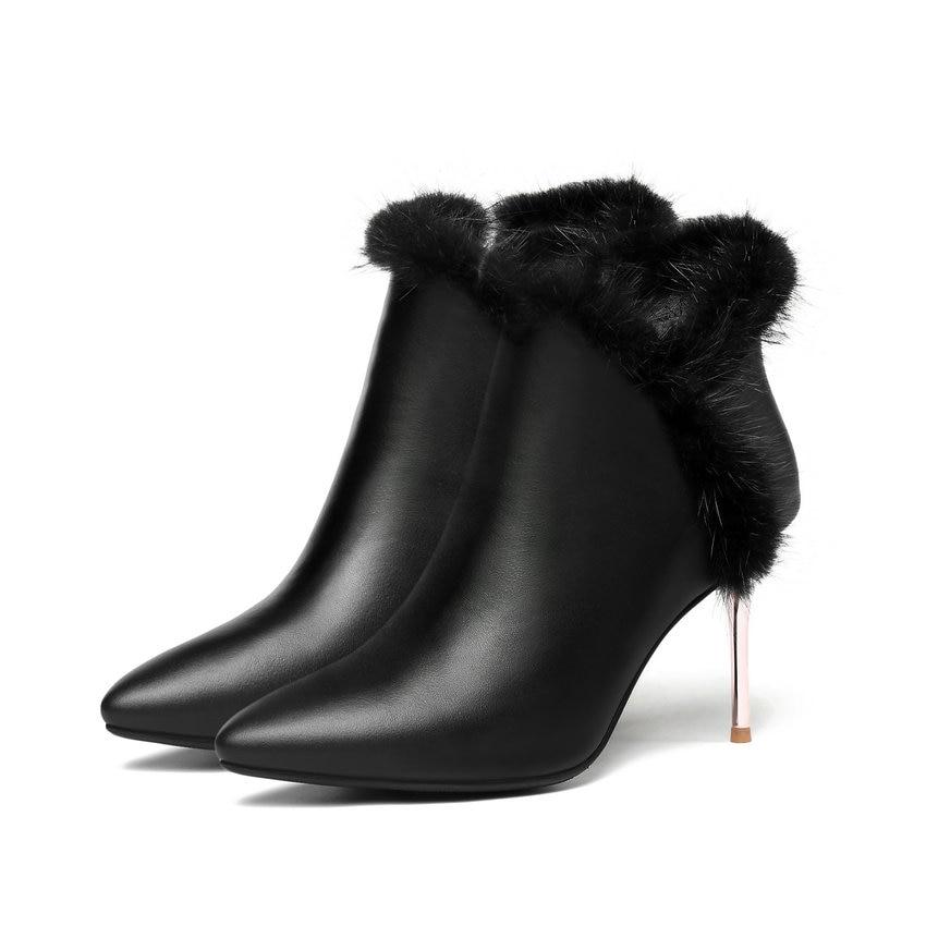 Altos Zip 39 Mujeres 34 Tobillo Faux Tacones Del Puntiagudo Tamaño Delgados Moda Botas Fur Mujer Dedo 2019 Otoño Pie Zapatos Negro Esveva qxIwRYfp