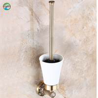 Fashionable And Convenient Solid Brass Toilet Brush Holder Ceramic Cup Bathroom Accessories Wall Mounted Toilet