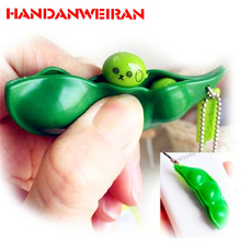 1PIECE New Creative Funny toys for children green  beans mini squeeze  fun toy Decompression relieve boredom small toy pendant