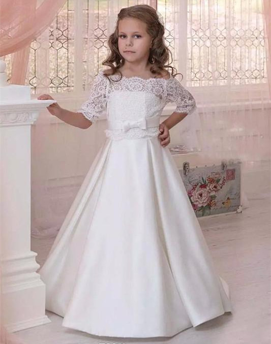 Elegant White Flower Girl Dresses Off Shoulder 1/2 Sleeve Sweep Train Girls Pageant Dresses With Lace Top For Wedding bell sleeve striped off shoulder top