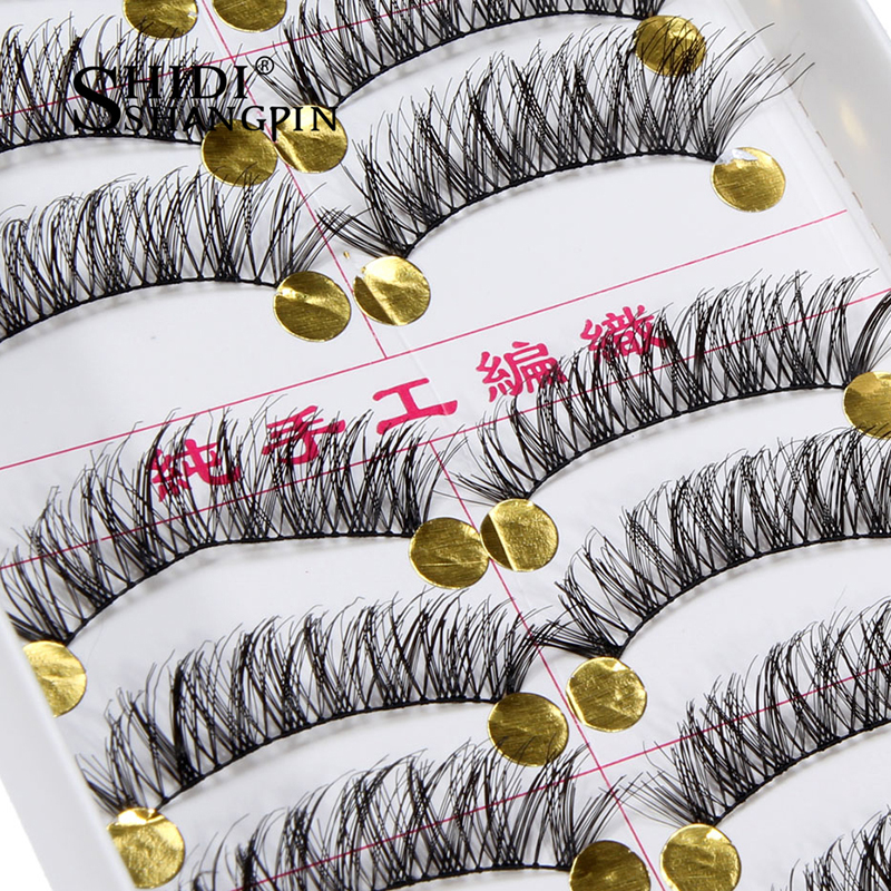 New 10 Pairs Handmade Natural Long False Eyelashes Make Up Tool Fake Eyelash Eye Extension Cross Long Lashes Makeup