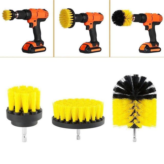 Perceuse électrique de nettoyage, pour cuir et plastique, intérieur de voiture, brosse de nettoyage, 3 pièces, 2/3, 5/4 pouces