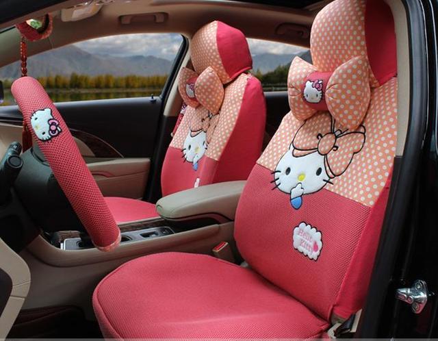 Pink Polka Dot Hello Kitty Car Seats Cover Set Cute Cartoon Plaid Cat
