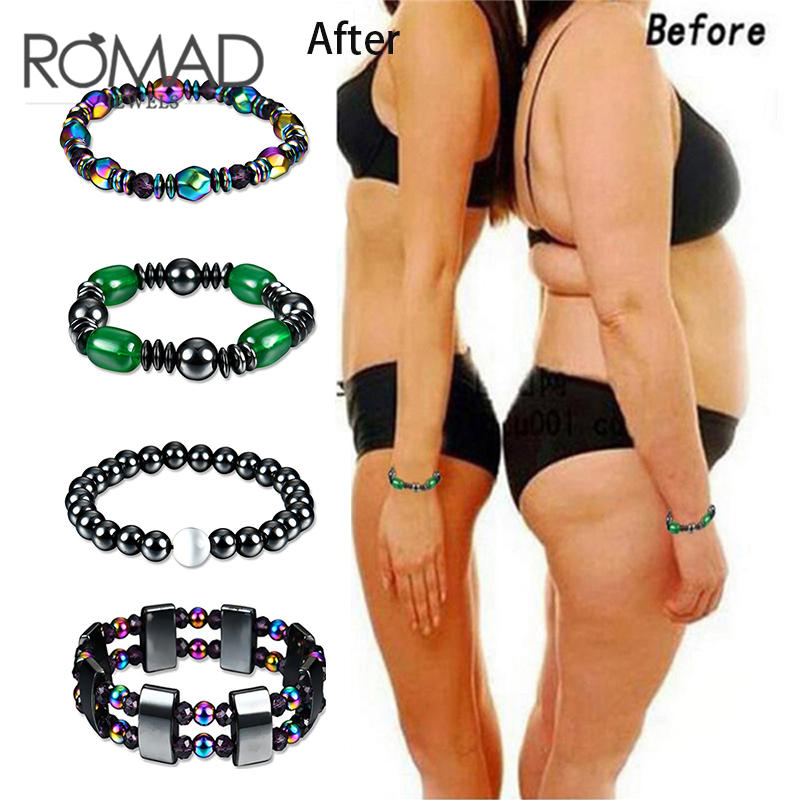 ROMAD 1Pc font b Weight b font font b Loss b font Bracelet Round Black Stone