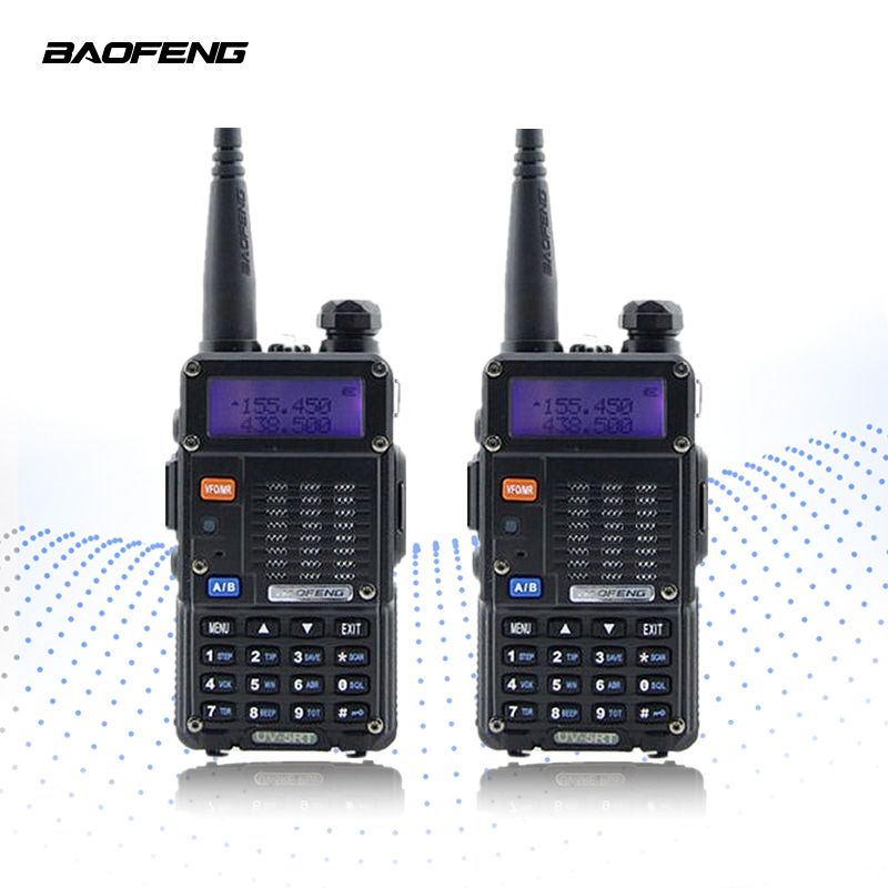 2PCS BAOFENG UV-5RT Walkie Talkie Tvåvägs Radio FM Transceiver Interphone Dubbelband DTMF Kodad VOX Alarm LED-ficklampa