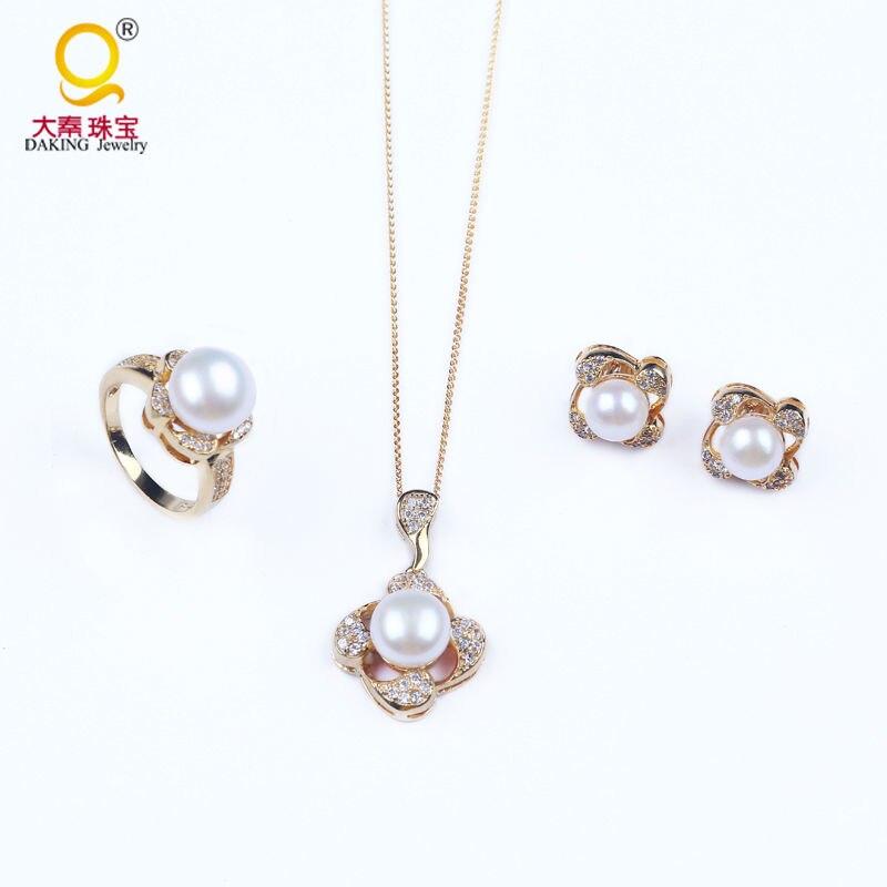 Haute qualité 100% perle naturelle 925 bijoux en argent ensembles femmes parti bijoux fins collier bague et boucles d'oreilles pour les femmes