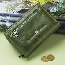 Contact's Fashion Small Wallet Women Genuine Leather Coin Purse Short Wallets For Ladies Zipper Pocket Deisgn Cards Holder Bag 3157 fashion women wallet leather small crossbody bags girls purse multiple cards holder phone pocket female standard wallets