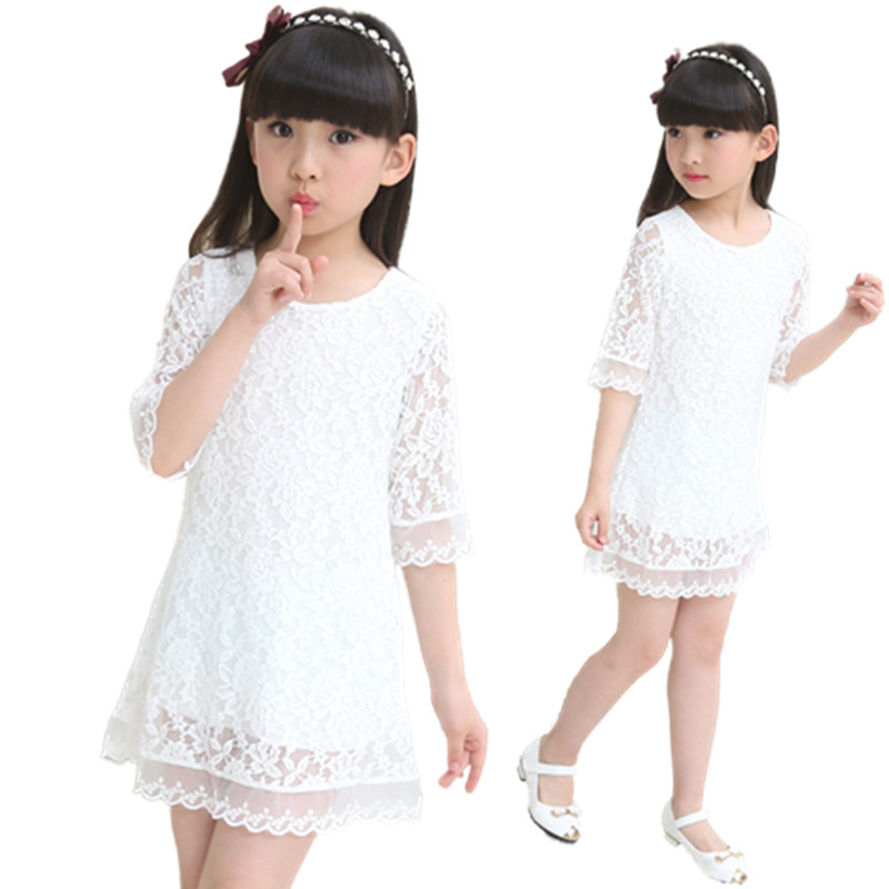 V-TREE baby girls Lace Dresses For Girls summer Princess wedding birthday Party Dresses For Teenagers Children costume Clothing