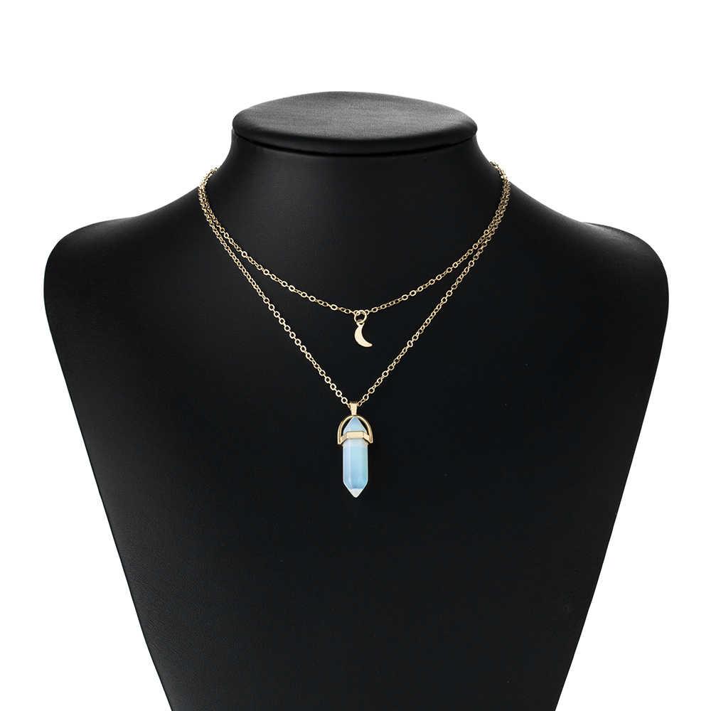 KISSWIFE moda Bohemia 1 sztuk naturalne kamień księżyc Choker kryształ w złotym kolorze wisiorek naszyjnik dla kobiet Wedding Party prezent