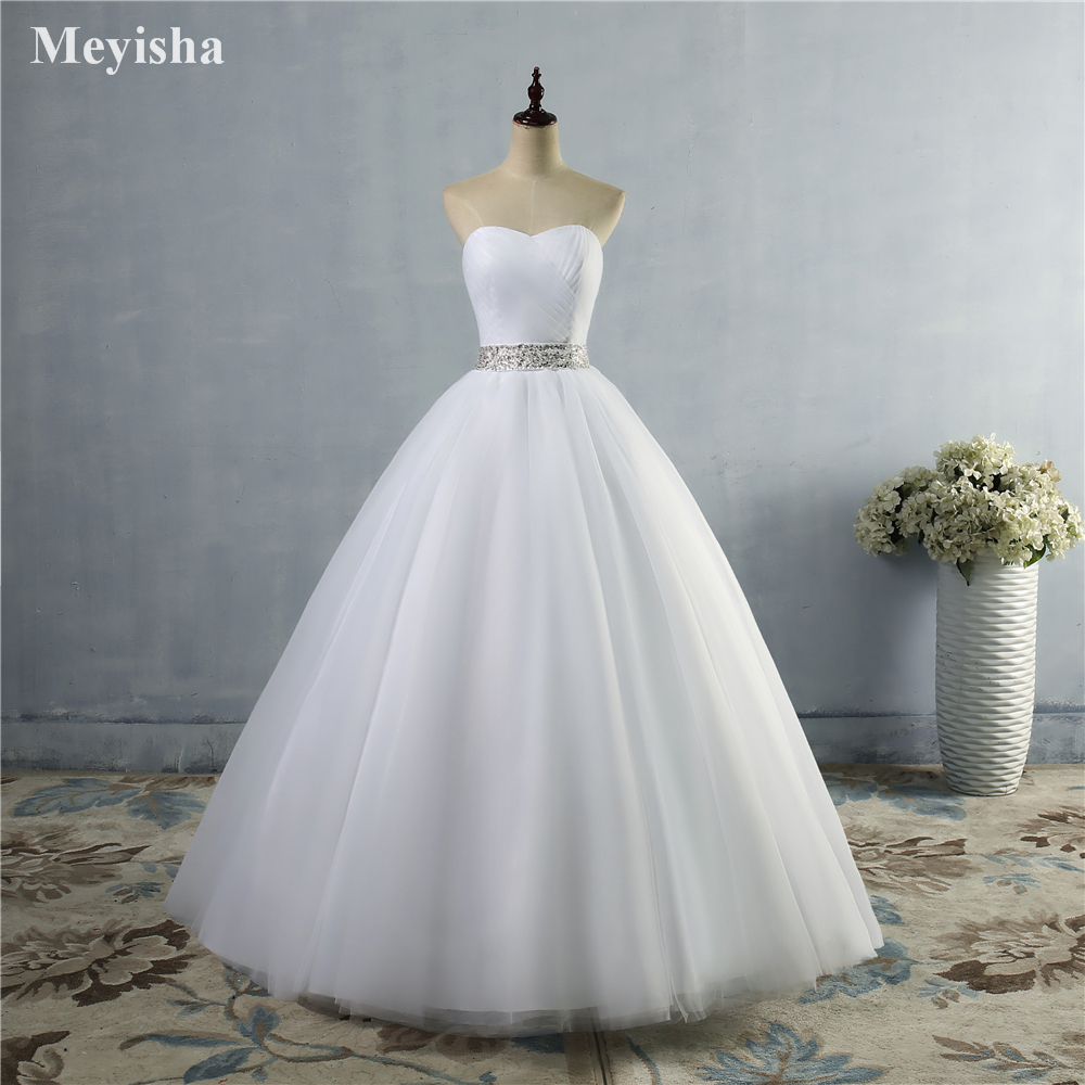 ZJ9040 2019 2020 A-line With Crystal Beads Tulle  Wedding Dress for Bridal Dresses Size 2 4 6 8 10 12 14 16 18 20 22 24 26 28