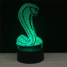 Cobra Snake Mamba OUT 7 Colors Changing 3D Lamp USB Night Lamps LED Lights for KOBE retired souvenir Gifts Support Drop shipping цена и фото