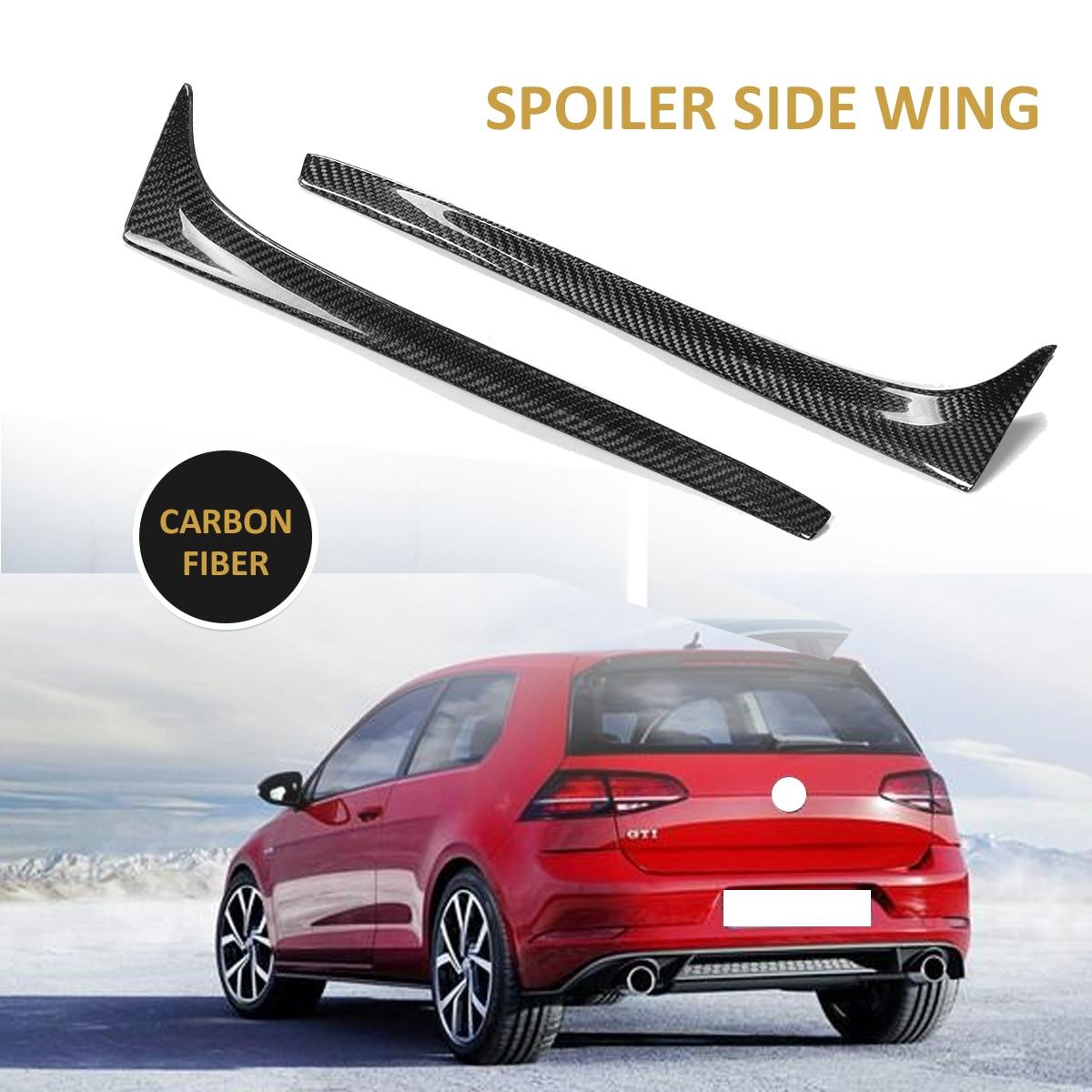 A Pair Real Carbon Fiber Rear Side Spoiler For Volkswagen GOLF Mk7 7 VII TSI TDI 2014-2017 Black Rear Tunk Side Wing Spoiler New seintex 84027 для audi a 3 2012 volkswagen golf vii