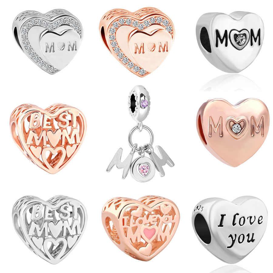 0e78b7864 European&USA Rose gold silver best mom love charms Bead fit Original Pandora  women's bracelet for mother's