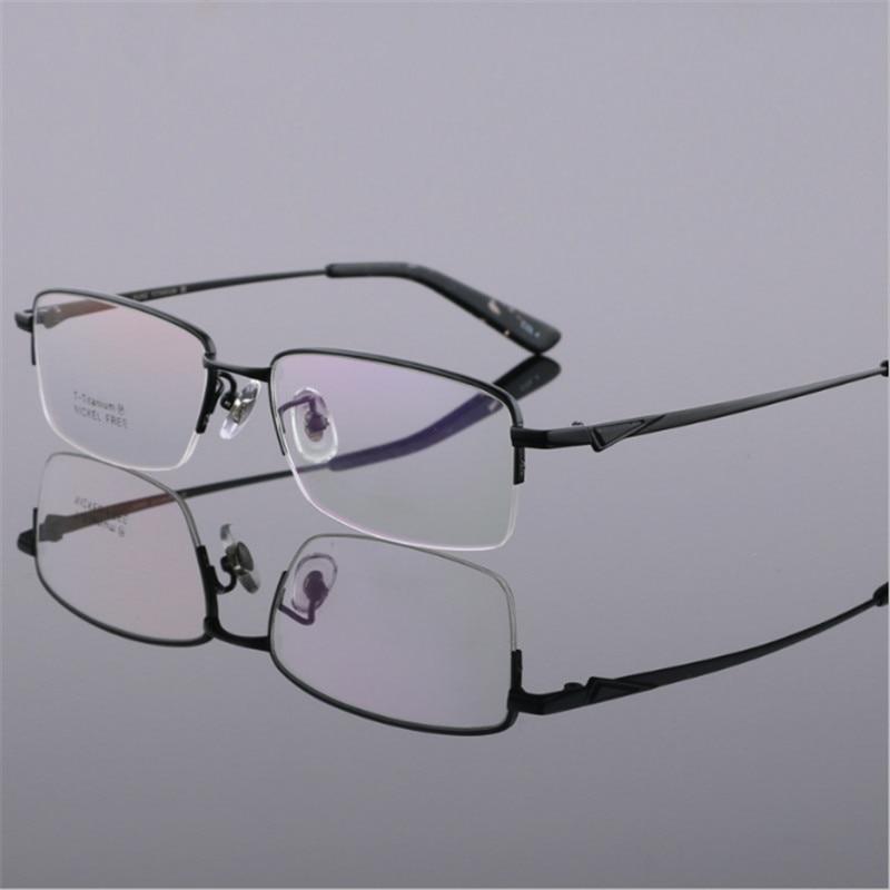 Herenmode Lenzenvloeistof Gold Ultralight Titanium Frames Bril Frames Voor Mannen Optische Frame Dunne Been Half Omrande Bril 05 Complete Reeks Artikelen