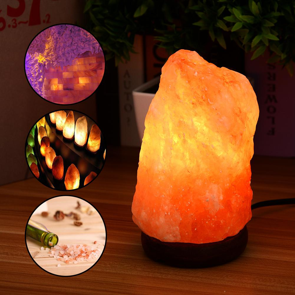 AKDSteel 110V Dimmable Hand Crafted Natural Crystal Himalayan Salt Lamp with Wooden Base, 7W Bulb and Power Cord, 2-to-5 LB цена