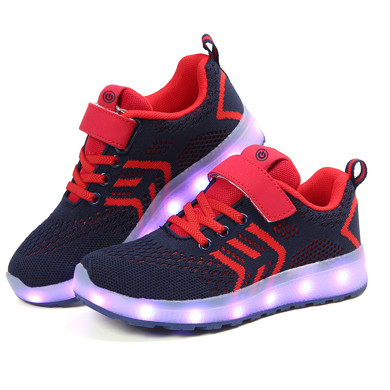 2017 New Kids Sneakers Childrens USB Charging Luminous Lighted Shoe Boy/Girls Colorful LED Lights Children Tennis Shoes 25-37