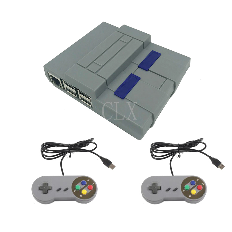 Raspberry Pi 3 B+ Mini NES Style Case +Cool Fan+2pcs Game Handle  For Raspberry Pi 3 Model B Plus, 3B, 2B And B+ / NESPi Case