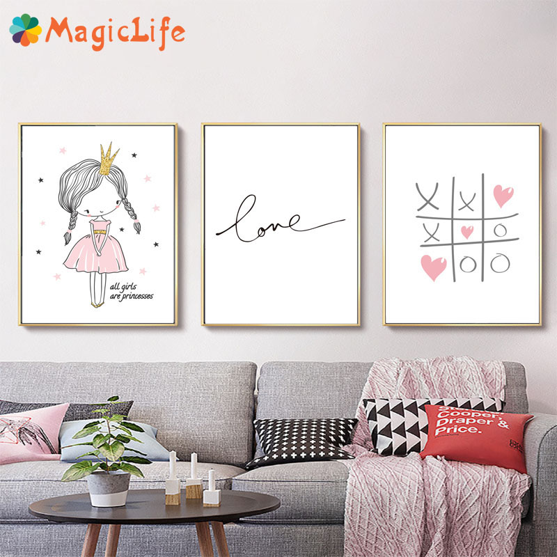 Love Quotes Baby Room Wall Art Canvas Painting Nordic Poster For Living Room Pink Wall Pictures Decoration Unframed-in Painting & Calligraphy from Home & Garden