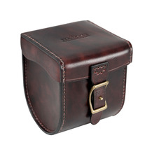 Tourbon Brown Leather Fly Fishing Reel Case Vintage Thick Padded Carrier Accessories for Fisher