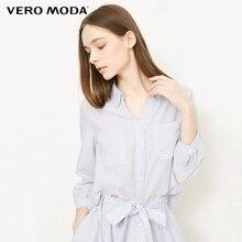 Vero Moda 2019 Spring & Summer V Neckline Striped 3/4 Sleeves Chiffon Shirt  318231600 недорого