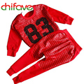 2016 New Spring Autumn Unisex Set Clothing Long Sleeve Letter Pattern Pullover Sweater+Harem Pants Suit Sets for Boys and Girls