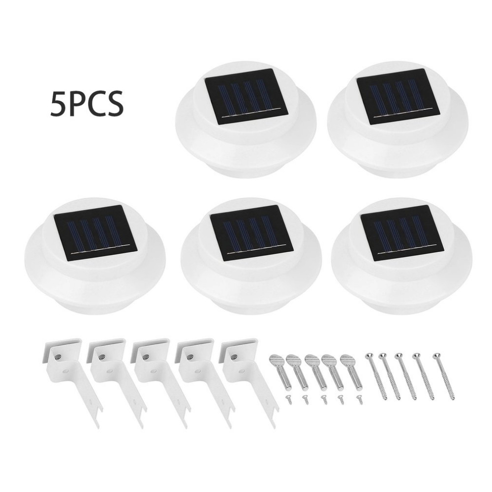 5pcs Waterproof Solar Powered Outdoor Garden Wall Light Water Resistant LED Fence Lamp Pathway Light with Three LEDs White Case solar powered 6w 100 led rgb light water resistant flexible tube light white black