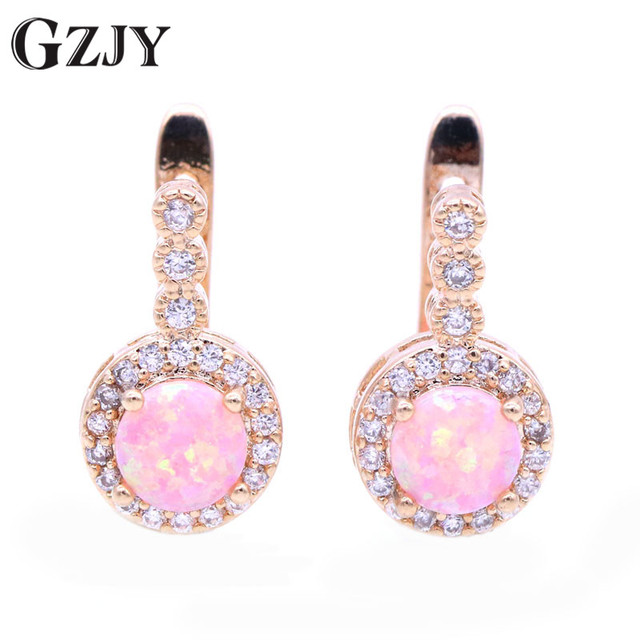 GZJY Fashion Jewelry Charming Round Fire Opal Zircon Champagne Gold Color  korean For Women Wedding Party Jewelry Gift f23c5355dd7e