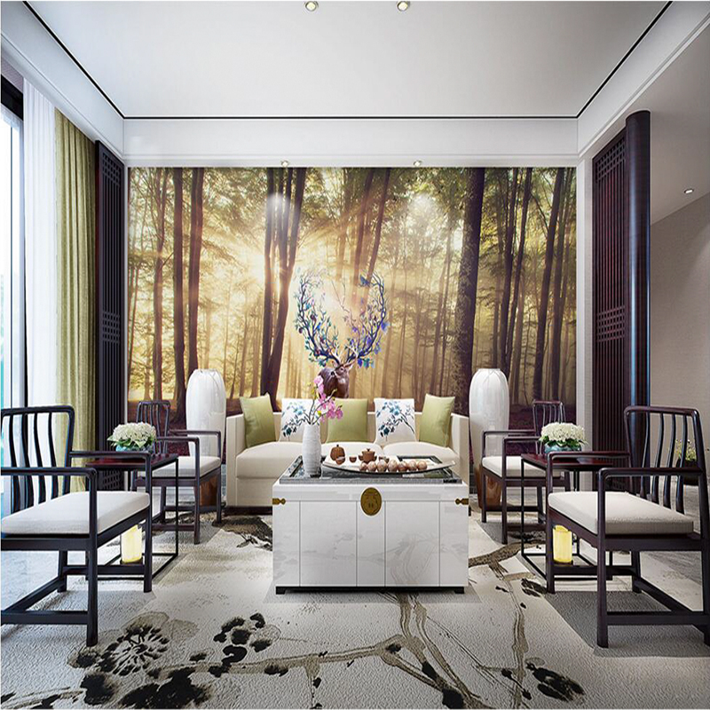 3d Photo europe wall papers home decor Forest Lucky Elk Sofa TV Background 3D wallpaper for Living Room Hotel Restaurant Mural 3d wall murals 3d wallpaper for living room bedroom tv sofa background wall waterfall forest landscape wall papers home decor