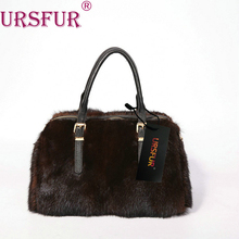 URSFUR Genuine Mink Fur Satchel Bag Purse Women's Handbag with Leather Handle Full Mink Fur Luxury  Shoulder Bag