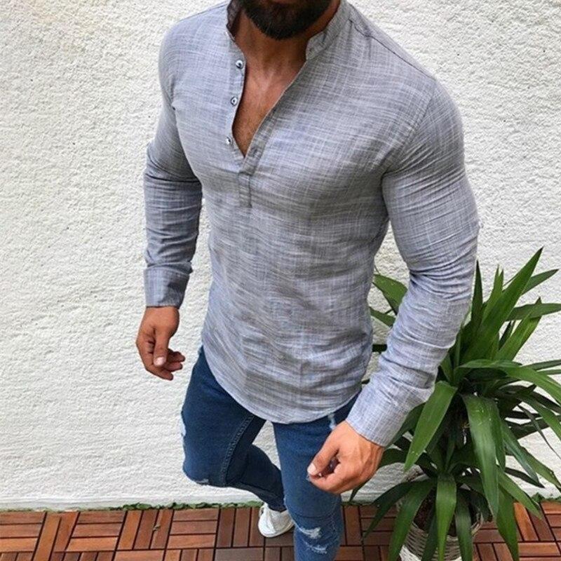 Herrenbekleidung & Zubehör Ehrlich Baumwolle Leinen Hemd Langarm V-ausschnitt Button Up Männlichen Casual Business Fit Bluse Männer Rouyhual Legere Hemden