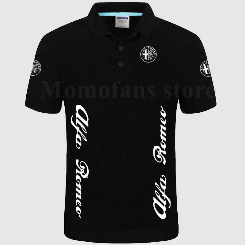Alfa Romeo   Polo   Shirt Short Sleeves Collar Solid Cotton Camisa   Polos   Homme Clothing
