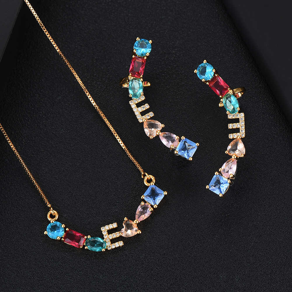 GODKI luxe exclusif petites lettres femmes mariage brésilien mariée cubique zircone collier boucle d'oreille Dubai haute bijoux ensembles
