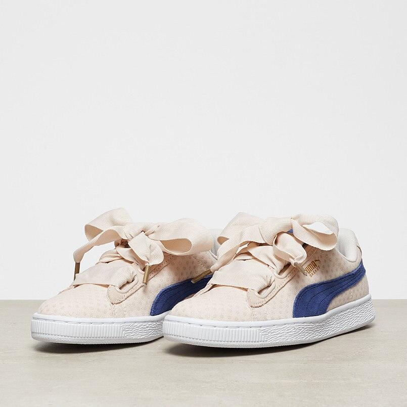 Puma shoes Puma Basket Heart Denim Bow Girl's Shoes Denim Series Khaki Point Women's Shoes size 36-39