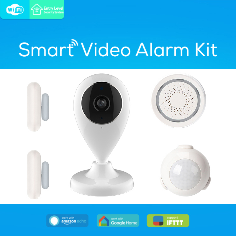 Wireless WiFi Alarm System Android IOS APP Control home Security Alarm System with PIR motion sensor IP camera alarm sticker image