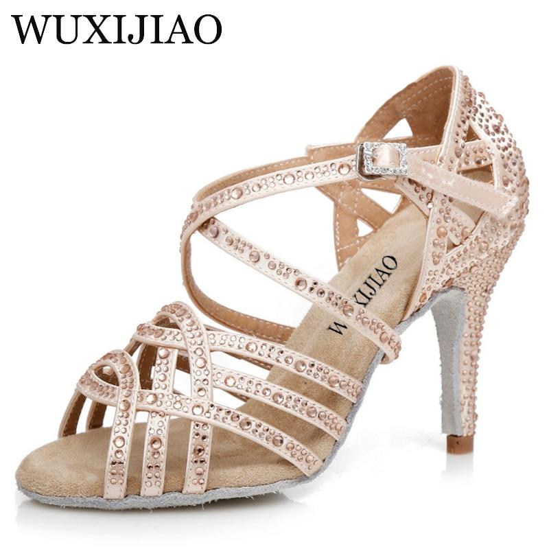 WUXIJIAO Latin Dance Shoes Big Small Rhinestone Bright Black Bronze Satin Women Salsa Dance Shoes Wedding Party Shoes Flare 9cm