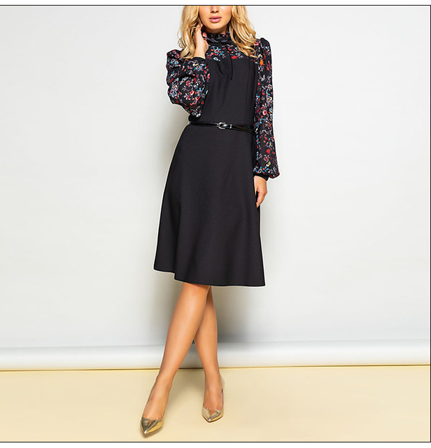 Vintage Style A-Line Long Sleeve Dress