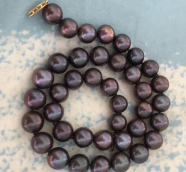 Stunning 18 11-12mm dacqua dolce genuino naturale nero rosso perla collana in argento 925Stunning 18 11-12mm dacqua dolce genuino naturale nero rosso perla collana in argento 925