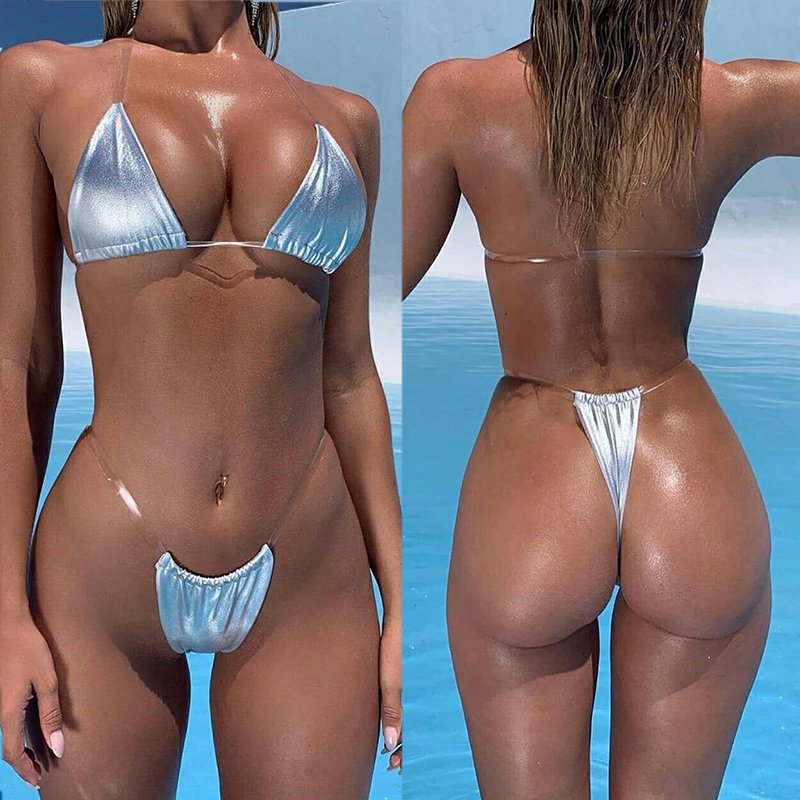 2019 Shiny Micro Thong Bikini Women Transparent Bandeau swimsuit Female Brazilian Swimwear Two pieces Bikini set Bathing Suit