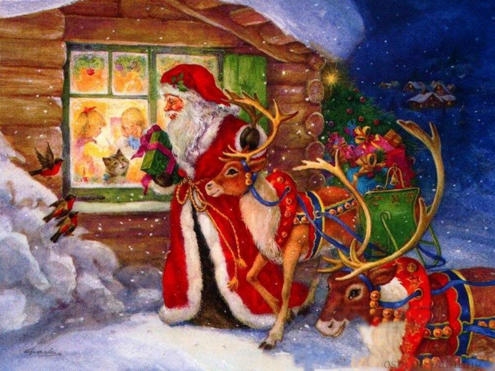 100% Handgemalte Weihnachtsmann und Zwei Rehe In Der Nähe der Fenster Wandkunst Ölgemälde Auf Leinwand Bilder Weihnachtsdekoration