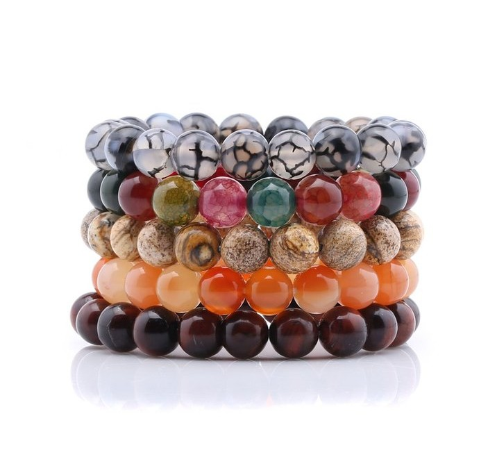 High Quality 10mm Natural Stone Bracelets Beaded Stretch Bracelet Handmade Elastic Stackable