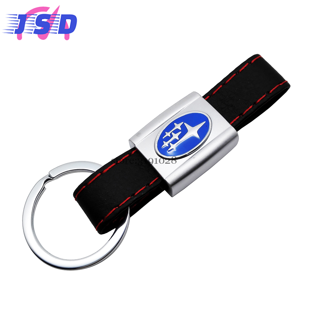 Car styling leather key chain key ring for subaru logo auto keychain accessories for forester xv